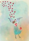Ängel med hjärtor och gåvan greeting lyckligt nytt år för 2007 kort Vattenfärgillustrati Arkivbild