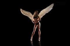 Ängel med vingar på svart bakgrund Royaltyfri Bild