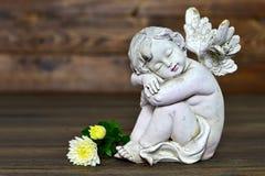 Ängel och blommor Arkivfoton