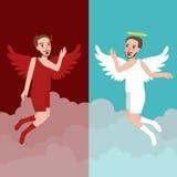 Ängel- och ondskateckenet föreställer goda och bad Arkivbilder