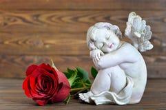 Ängel och röd ros Royaltyfri Foto