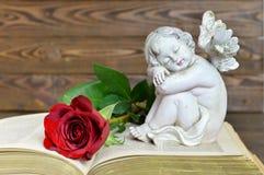 Ängel och röd ros på boken Royaltyfria Bilder