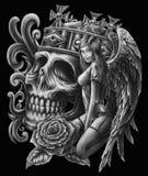Ängel och skalle stock illustrationer