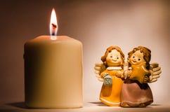Ängel och stearinljus Royaltyfri Bild