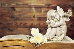 Ängel och vita blommor på den gamla boken Royaltyfria Bilder