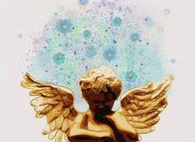 Ängel som tänker och drömmer Samtida konst vattenfärg Arkivfoton