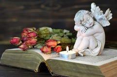Ängel, stearinljus och torra rosor Royaltyfri Foto