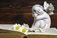 Ängel, vita blommor och bok Fotografering för Bildbyråer