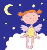 Ängelflicka på natten under moonen. Royaltyfri Fotografi