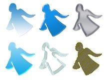 ängelgåvasilhouettes stock illustrationer