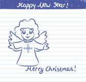 Ängelillustrationen för det nya året - skissa på skolaanteckningsboken Arkivfoton