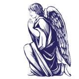 Ängeln ber på hans knä som det religiösa symbolet av drog vektorillustrationen för kristendomen handen skissar stock illustrationer