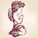 Ängeln ber på hans religiösa symbol för knä av drog vektorillustrationen för kristendomen handen stock illustrationer
