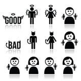 Ängeln, jäkelmannen och kvinnasymbolen ställde in Arkivfoto