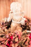 Ängeln på torkad Bourgognevanlig hortensia blommar garnering royaltyfri foto