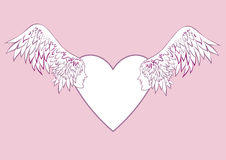 Ängeln påskyndar med en mänsklig framsida i ramen i formen av en hjärta Arkivbild