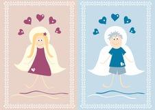 ängelpojkeflicka vektor illustrationer