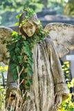 Ängelstaty i en kyrkogård Arkivfoto