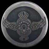 Ängelsymbol på en silverhänge Arkivfoto