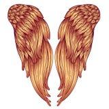 Ängelvingar Dekorativ barock stilbeståndsdel också vektor för coreldrawillustration Tatueringmall Utdragen antik symbolsamling fö stock illustrationer