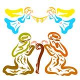 Änglar berättar herdarna om födelsen av frälsaren, färgrik modell royaltyfri illustrationer