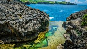 Änglar Billabong, bisarrt ställe, Nusa Penida Bali Indonesien Royaltyfri Fotografi