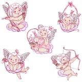 Änglar eller kupidon på molnen skissar in stil royaltyfri illustrationer