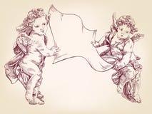 Änglar eller kupidonet rymmer ett tomt ark av meddelanden, handen drog vektor somllustrationen skissar vektor illustrationer