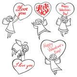 Änglar för dag för valentin` s ställde in med den gulliga handen dragen bokstäver Jag älskar min cykel stock illustrationer