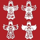 Änglar för vit jul med hjärta i hans händer, änglar som praing på den röda bakgrunden Konturn av ängeln kan använda för kortet, l royaltyfri illustrationer