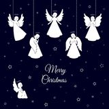 Änglar för vit jul med vingar och nimbus vektor illustrationer