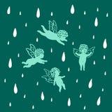 Änglar flyger i himlen i regnet royaltyfri illustrationer