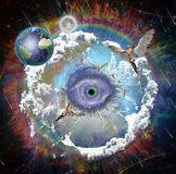 Änglar i livlig galax vektor illustrationer
