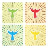 Änglar i radiell stjärnabakgrund vektor illustrationer