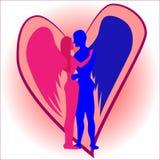 Änglar: Kyssa för man och för kvinna vektor illustrationer