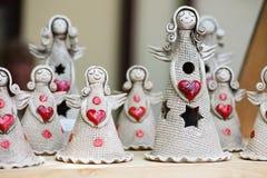 Änglar med röd hjärta Royaltyfri Fotografi