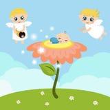 Änglar med stjärnor och behandla som ett barn att sova på blomman stock illustrationer