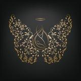 Änglar med vingar och Nimbus vektor illustrationer
