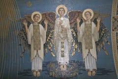 Änglar mosaik, montering Tabor, basilika av omgestaltningen royaltyfri foto