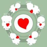 Änglar och hjärtamodell royaltyfri illustrationer