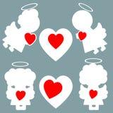 Änglar och hjärtamodell stock illustrationer