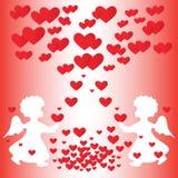 Änglar och hjärtor. stock illustrationer