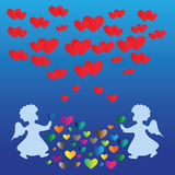 Änglar och hjärtor. royaltyfri illustrationer