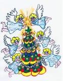 Änglar och julgran som målar vektor illustrationer