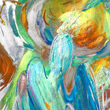 Änglar och kupoler som målar vid olja på kanfas royaltyfri illustrationer