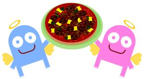 Änglar och pizza vektor illustrationer