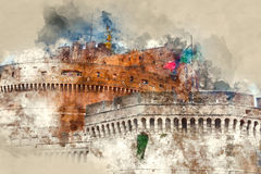 Änglar rockerar i Rome - den berömda Castel Sant Angelo på den Tiber floden royaltyfri illustrationer
