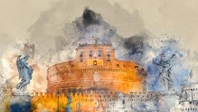 Änglar rockerar upplyst i aftonen - Castel Sant Angelo i Rome royaltyfri illustrationer