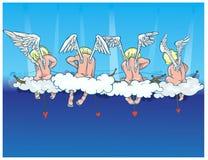 Änglar sitter på moln och startar upp pilar av förälskelse royaltyfri illustrationer