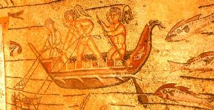 änglar som fiskar den roman mosaiken arkivfoto